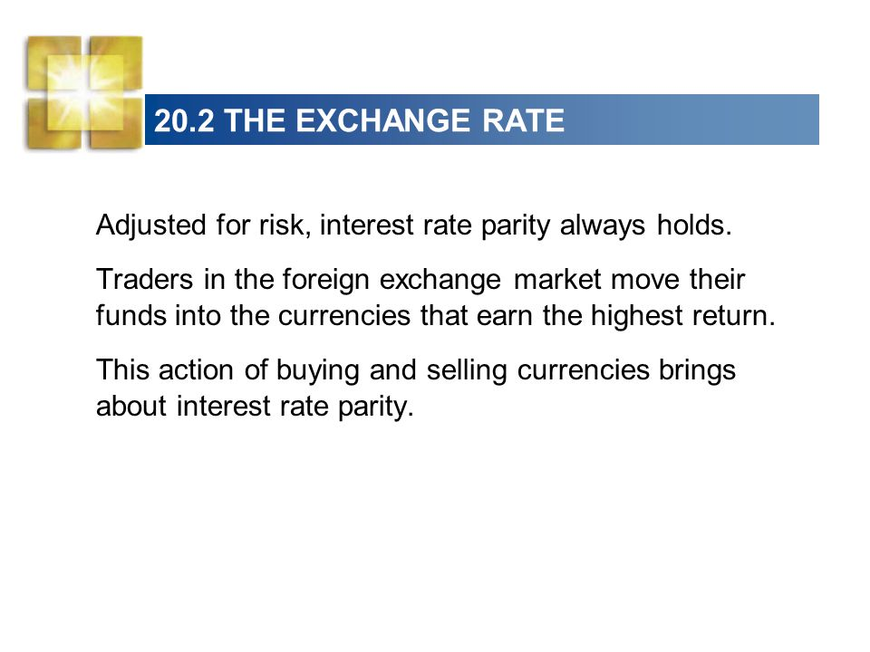 20.2 THE EXCHANGE RATE Adjusted for risk, interest rate parity always holds.
