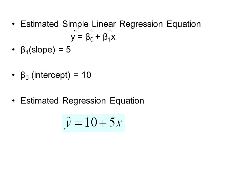Estimated Simple Linear Regression Equation y = β 0 + β 1 x β 1 (slope) = 5 β 0 (intercept) = 10 Estimated Regression Equation  