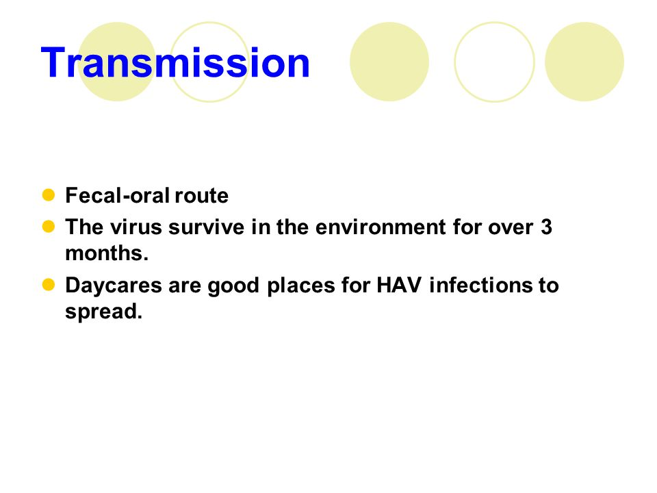 Fecal-oral route The virus survive in the environment for over 3 months.