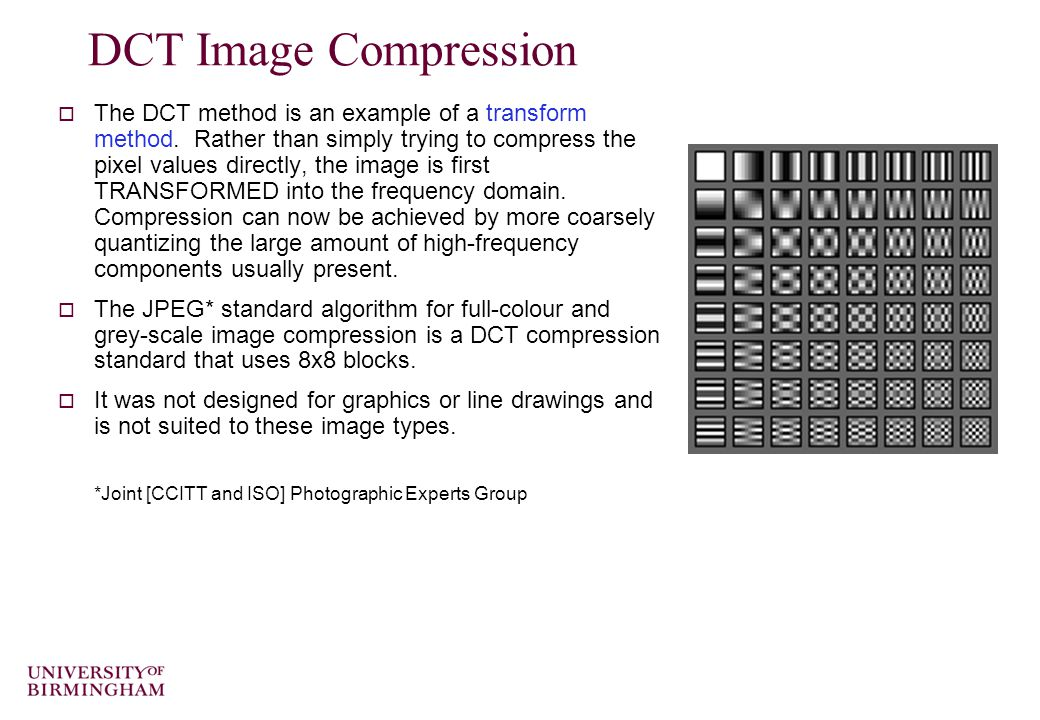 Multimedia Data The DCT and JPEG Image Compression Dr Mike Spann