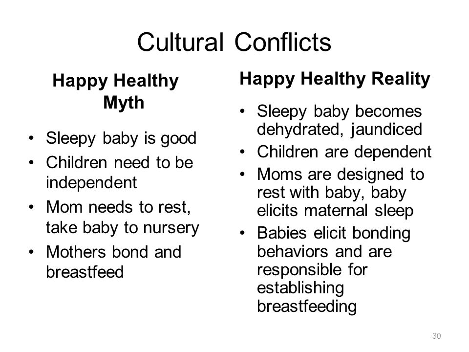 30 Cultural Conflicts Happy Healthy Myth Sleepy baby is good Children need to be independent Mom needs to rest, take baby to nursery Mothers bond and breastfeed Happy Healthy Reality Sleepy baby becomes dehydrated, jaundiced Children are dependent Moms are designed to rest with baby, baby elicits maternal sleep Babies elicit bonding behaviors and are responsible for establishing breastfeeding