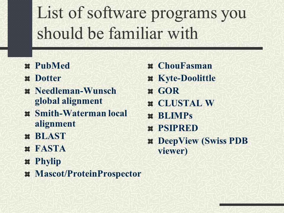 List of software programs you should be familiar with PubMed Dotter Needleman-Wunsch global alignment Smith-Waterman local alignment BLAST FASTA Phylip Mascot/ProteinProspector ChouFasman Kyte-Doolittle GOR CLUSTAL W BLIMPs PSIPRED DeepView (Swiss PDB viewer)