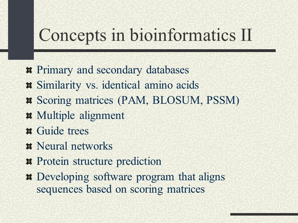 Concepts in bioinformatics II Primary and secondary databases Similarity vs.