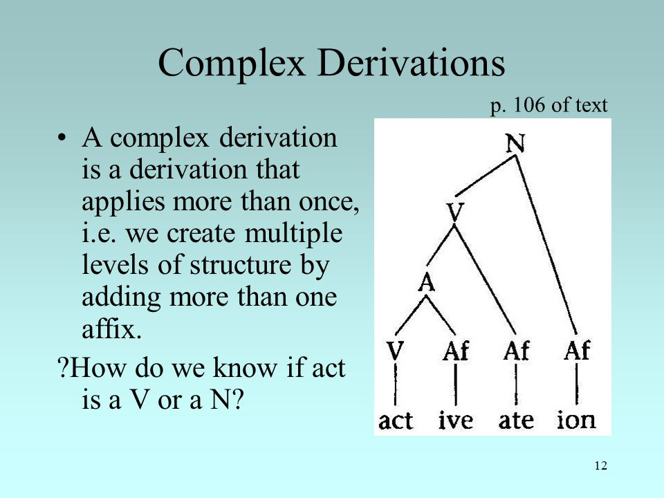 12 Complex Derivations A complex derivation is a derivation that applies more than once, i.e.