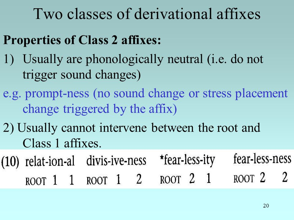 20 Two classes of derivational affixes Properties of Class 2 affixes: 1)Usually are phonologically neutral (i.e.