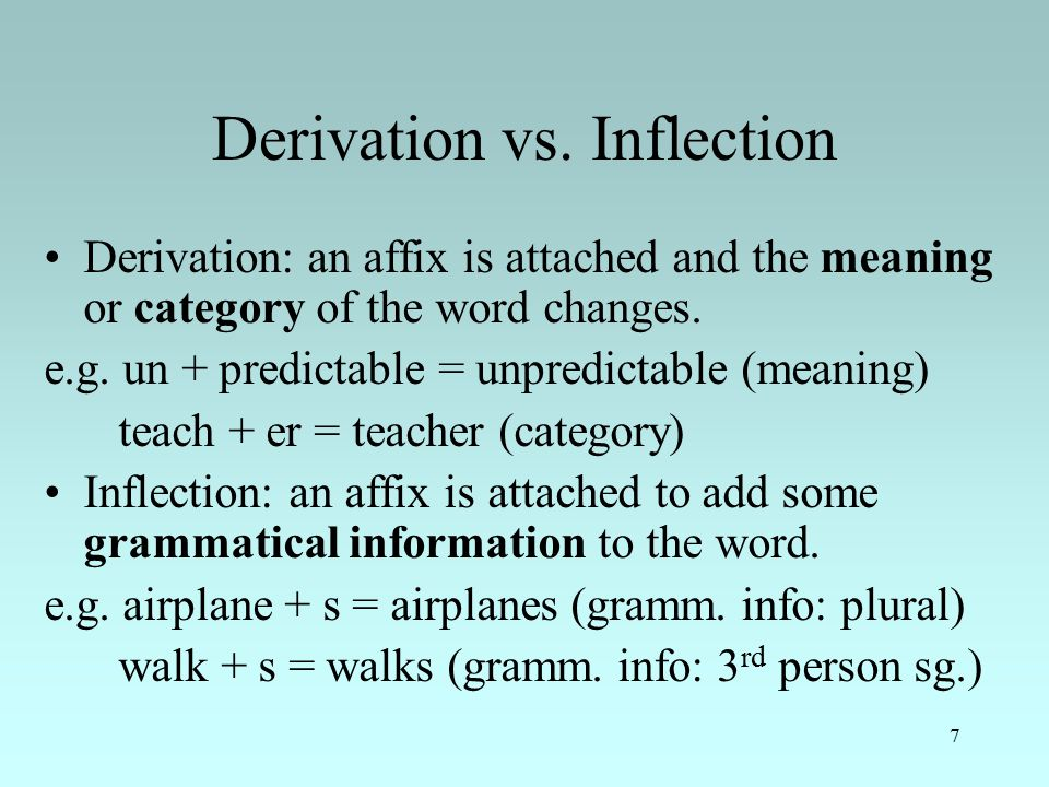7 Derivation vs.