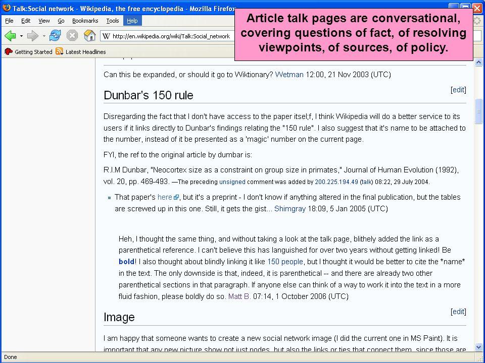 Wikipedia as social network Dan Cosley Kicking the ball off