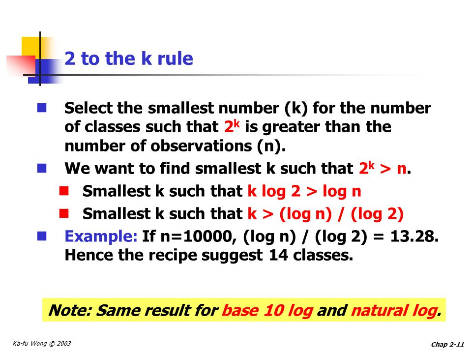 Ka-fu Wong © 2003 Chap to the k rule Select the smallest number (k) for the number of classes such that 2 k is greater than the number of observations (n).