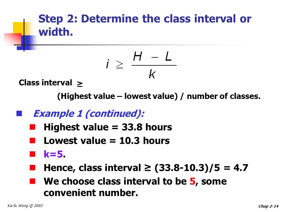 Ka-fu Wong © 2003 Chap 2-14 Step 2: Determine the class interval or width.