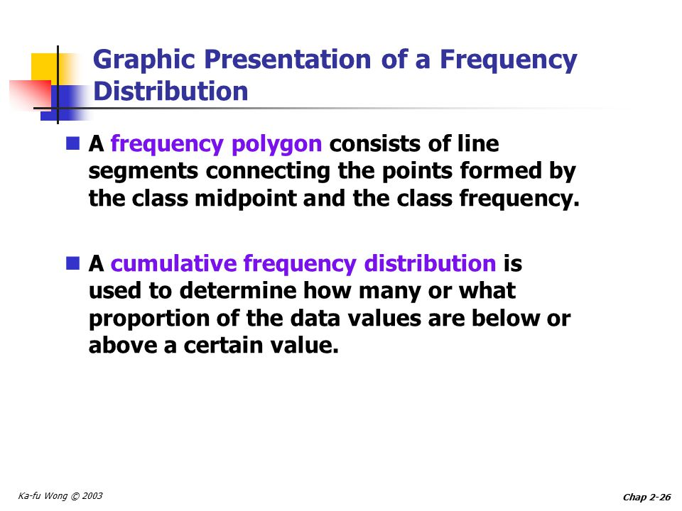 Ka-fu Wong © 2003 Chap 2-26 Graphic Presentation of a Frequency Distribution A frequency polygon consists of line segments connecting the points formed by the class midpoint and the class frequency.