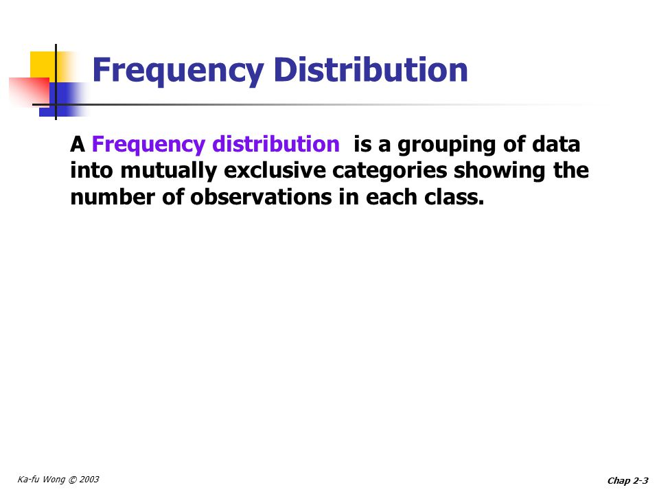 Ka-fu Wong © 2003 Chap 2-3 Frequency Distribution A Frequency distribution is a grouping of data into mutually exclusive categories showing the number of observations in each class.