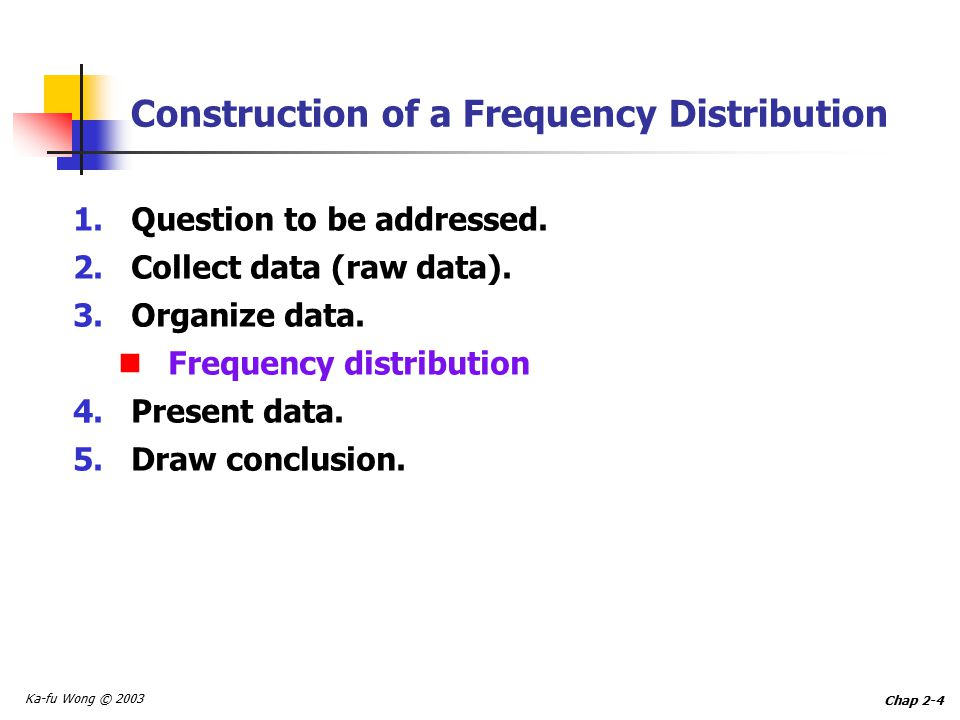 Ka-fu Wong © 2003 Chap 2-4 Construction of a Frequency Distribution 1.Question to be addressed.