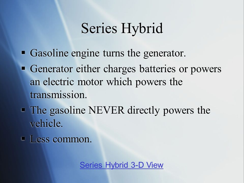 Series Hybrid  Gasoline engine turns the generator.