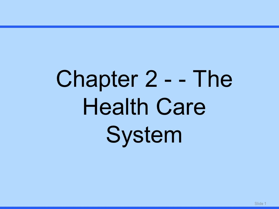 Slide 1 Chapter The Health Care System