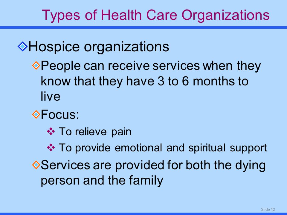 Slide 12 Types of Health Care Organizations Hospice organizations People can receive services when they know that they have 3 to 6 months to live Focus:  To relieve pain  To provide emotional and spiritual support Services are provided for both the dying person and the family