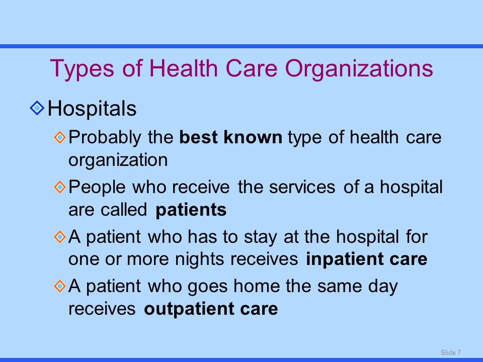 Slide 7 Types of Health Care Organizations Hospitals Probably the best known type of health care organization People who receive the services of a hospital are called patients A patient who has to stay at the hospital for one or more nights receives inpatient care A patient who goes home the same day receives outpatient care