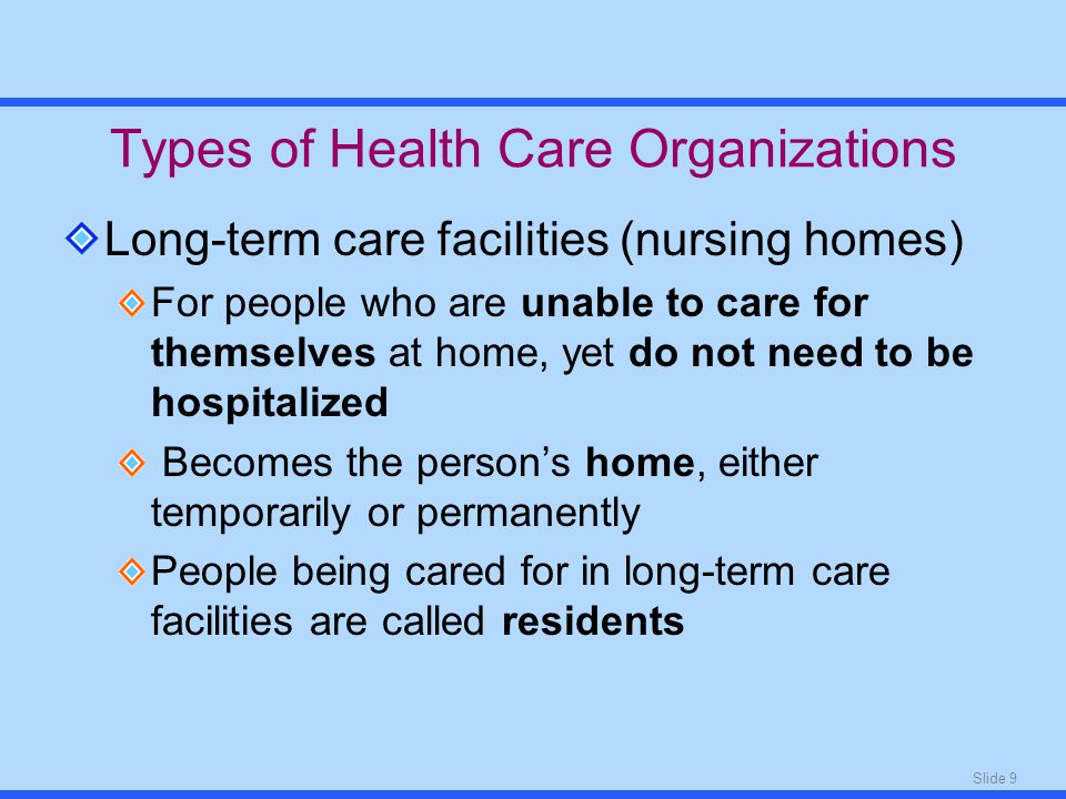 Slide 9 Types of Health Care Organizations Long-term care facilities (nursing homes) For people who are unable to care for themselves at home, yet do not need to be hospitalized Becomes the person's home, either temporarily or permanently People being cared for in long-term care facilities are called residents