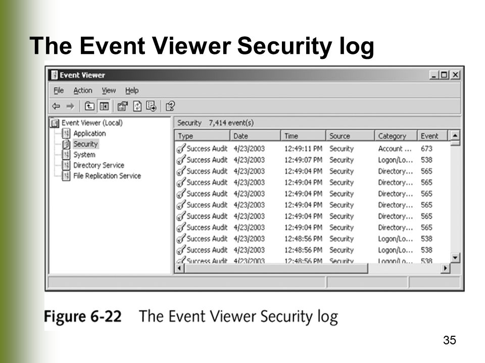 35 The Event Viewer Security log