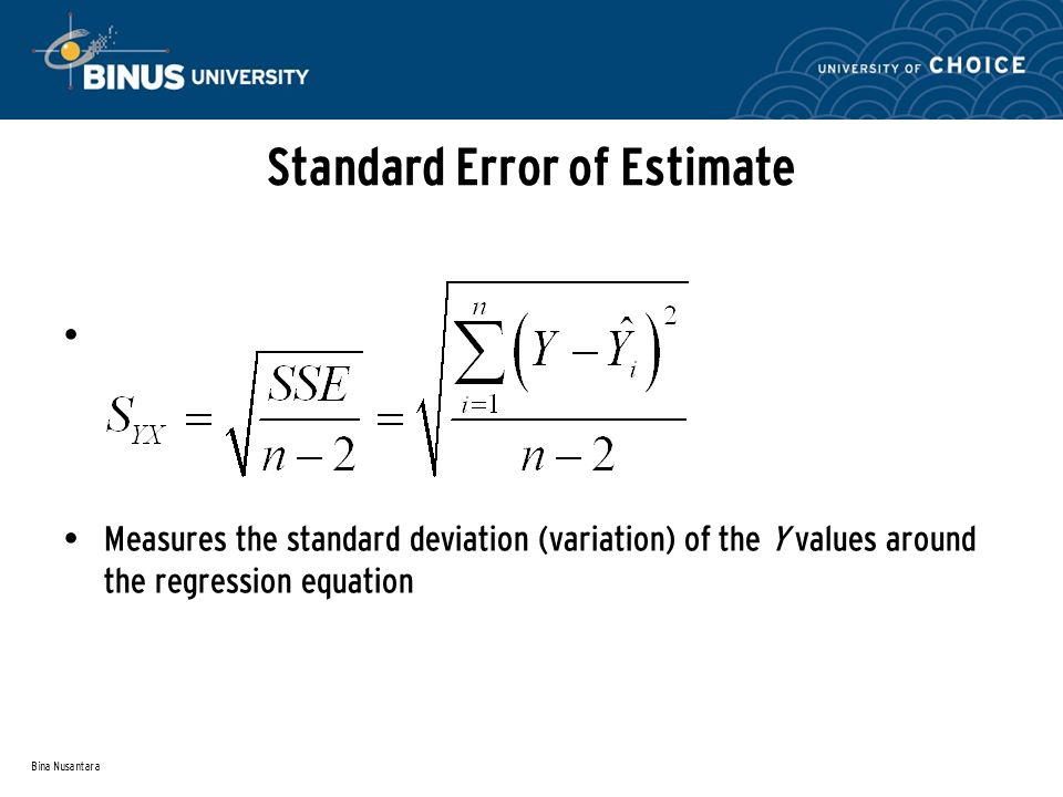 Bina Nusantara Standard Error of Estimate Measures the standard deviation (variation) of the Y values around the regression equation