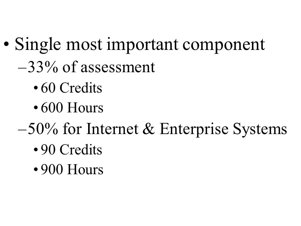 Single most important component –33% of assessment 60 Credits 600 Hours –50% for Internet & Enterprise Systems 90 Credits 900 Hours