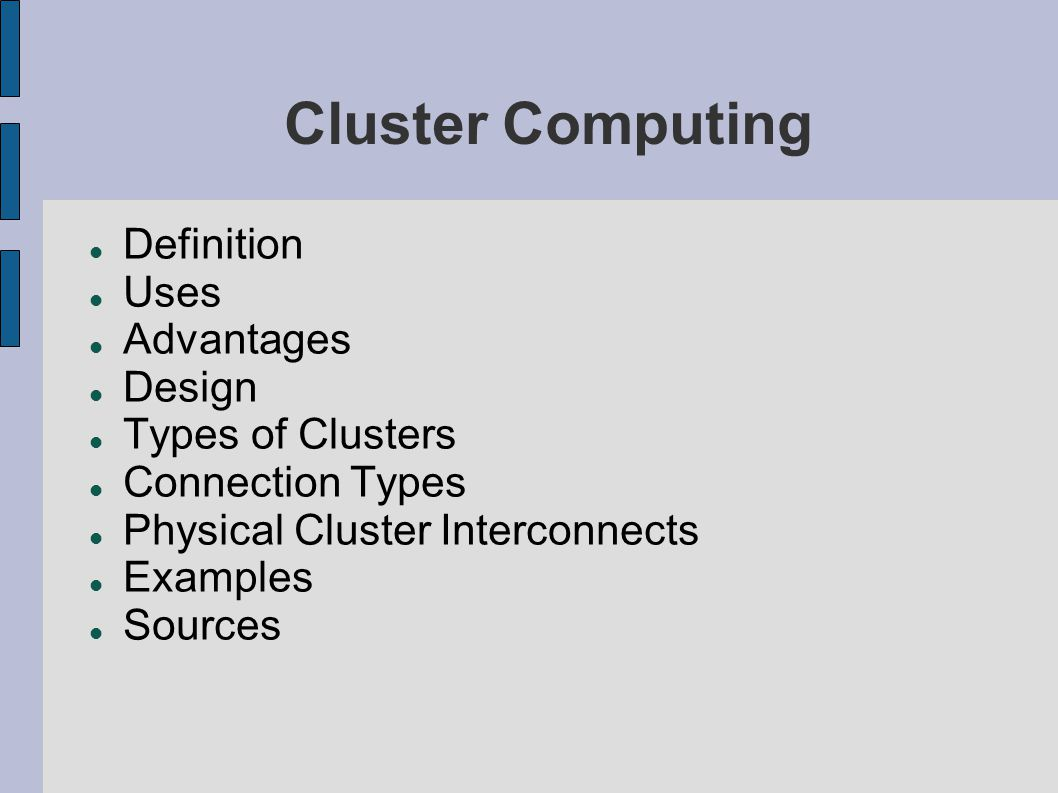 advantages of cluster computing