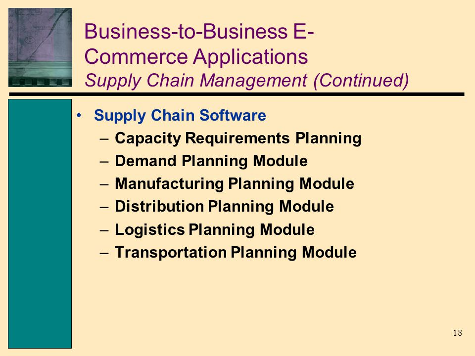 18 Business-to-Business E- Commerce Applications Supply Chain Management (Continued) Supply Chain Software –Capacity Requirements Planning –Demand Planning Module –Manufacturing Planning Module –Distribution Planning Module –Logistics Planning Module –Transportation Planning Module