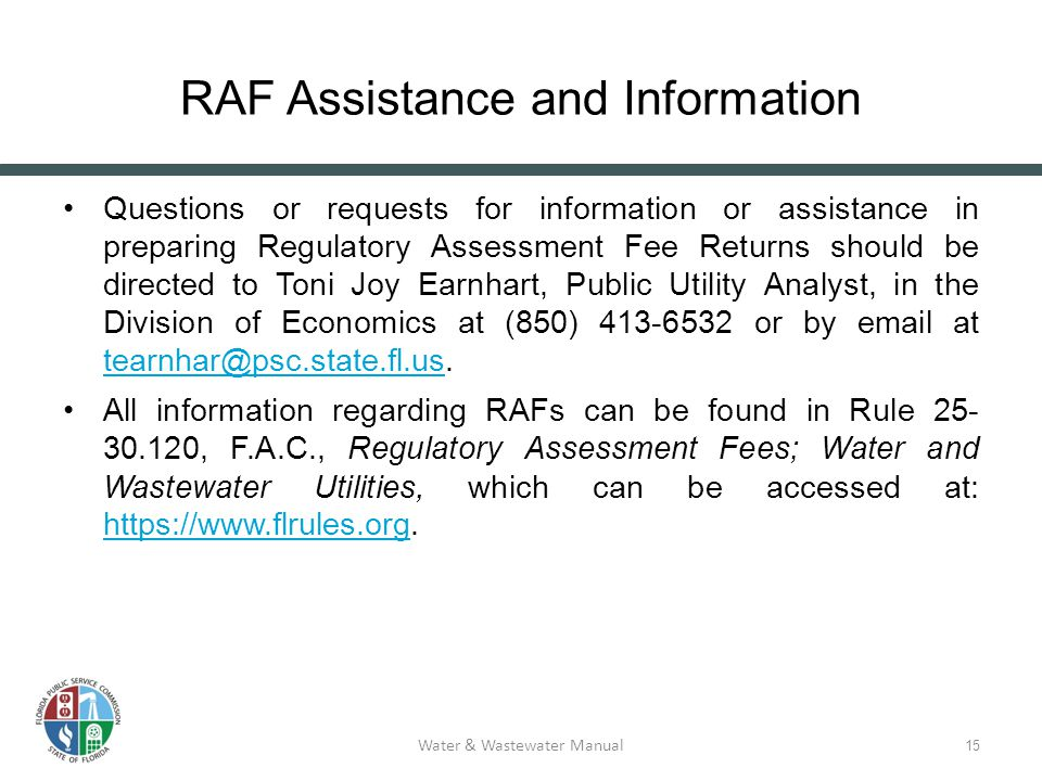Regulatory Assessment Fees 1 Water & Wastewater Reference