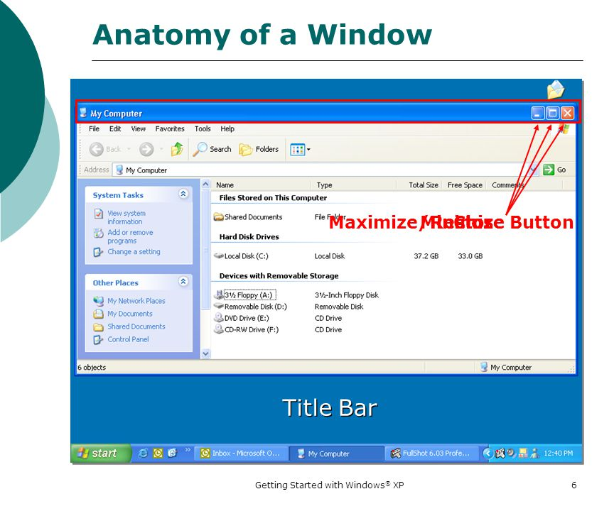 Getting Started with Windows ® XP 1 Getting Started with Windows ...