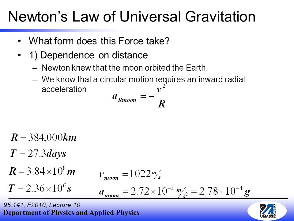 Department of Physics and Applied Physics , F2010, Lecture 10 Newton's Law of Universal Gravitation What form does this Force take.