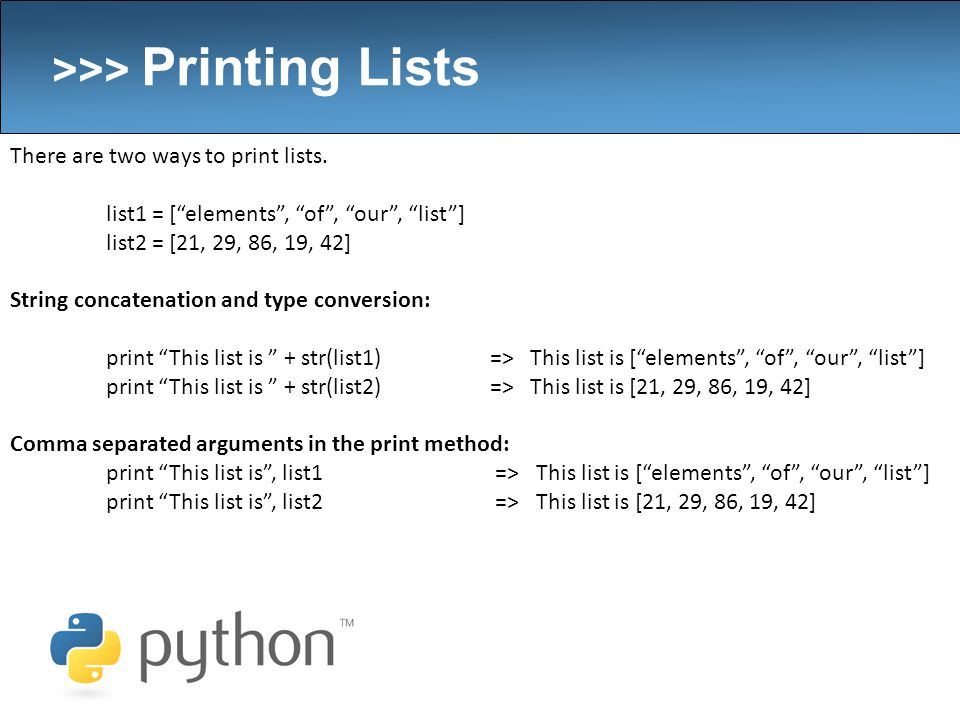 2/28/2008  >>> Overview Arrays in Python – a k a  Lists