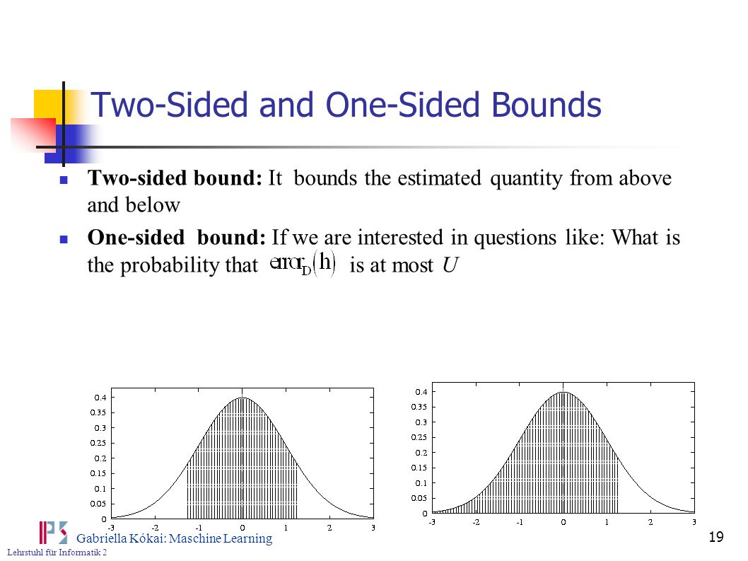Lehrstuhl für Informatik 2 Gabriella Kókai: Maschine Learning 19 Two-Sided and One-Sided Bounds Two-sided bound: It bounds the estimated quantity from above and below One-sided bound: If we are interested in questions like: What is the probability that is at most U