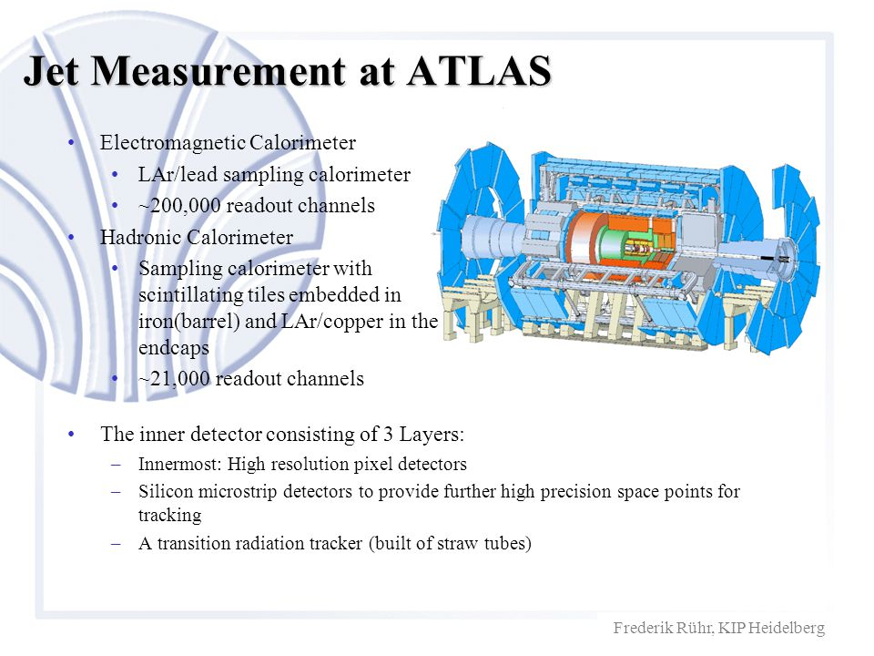 Frederik Rühr, KIP Heidelberg Jet Measurement at ATLAS The inner detector consisting of 3 Layers: –Innermost: High resolution pixel detectors –Silicon microstrip detectors to provide further high precision space points for tracking –A transition radiation tracker (built of straw tubes) Electromagnetic Calorimeter LAr/lead sampling calorimeter ~200,000 readout channels Hadronic Calorimeter Sampling calorimeter with scintillating tiles embedded in iron(barrel) and LAr/copper in the endcaps ~21,000 readout channels