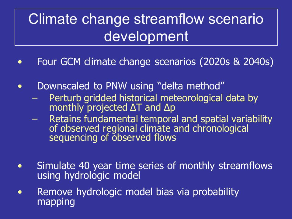 Climate change streamflow scenario development Four GCM climate change scenarios (2020s & 2040s) Downscaled to PNW using delta method –Perturb gridded historical meteorological data by monthly projected ∆T and ∆p –Retains fundamental temporal and spatial variability of observed regional climate and chronological sequencing of observed flows Simulate 40 year time series of monthly streamflows using hydrologic model Remove hydrologic model bias via probability mapping