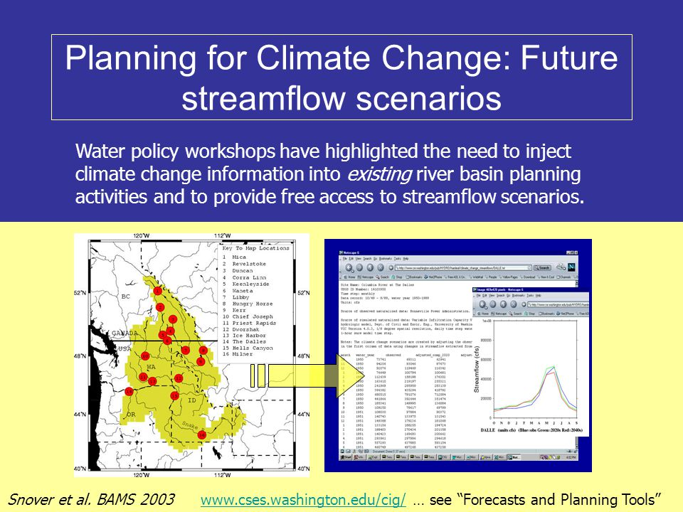 Planning for Climate Change: Future streamflow scenarios Water policy workshops have highlighted the need to inject climate change information into existing river basin planning activities and to provide free access to streamflow scenarios.