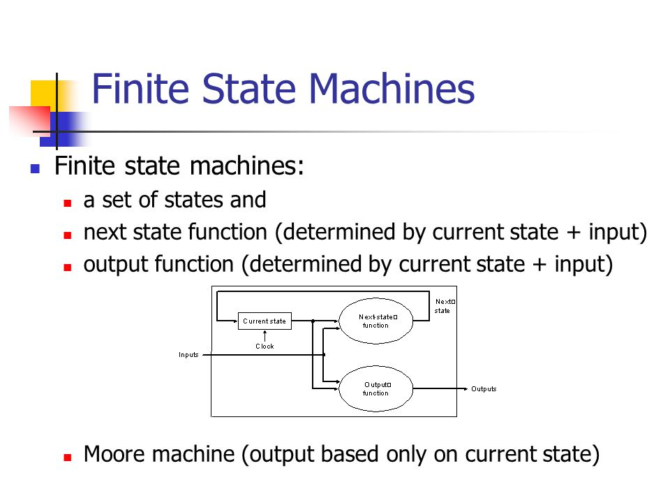 Finite state machines: a set of states and next state function (determined by current state + input) output function (determined by current state + input) Moore machine (output based only on current state) Finite State Machines