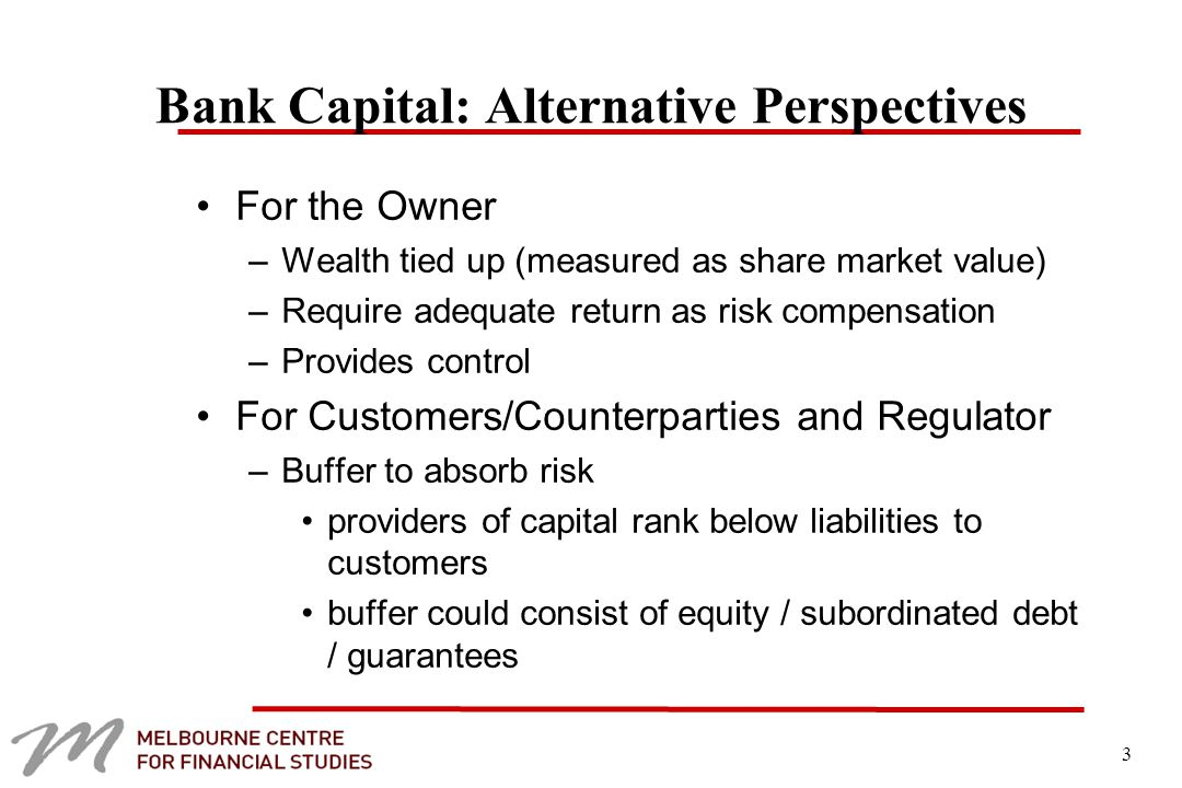 3 Bank Capital: Alternative Perspectives For the Owner –Wealth tied up (measured as share market value) –Require adequate return as risk compensation –Provides control For Customers/Counterparties and Regulator –Buffer to absorb risk providers of capital rank below liabilities to customers buffer could consist of equity / subordinated debt / guarantees