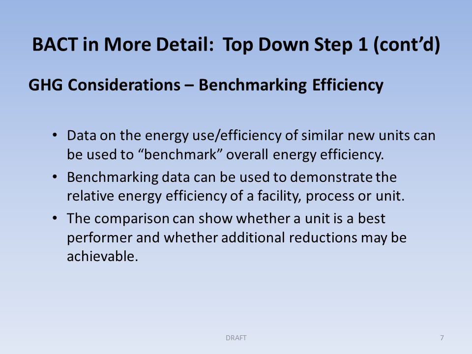 BACT in More Detail: Top Down Step 1 (cont'd) GHG Considerations – Benchmarking Efficiency Data on the energy use/efficiency of similar new units can be used to benchmark overall energy efficiency.