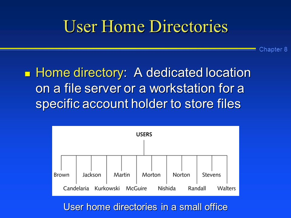Chapter 8 User Home Directories n Home directory: A dedicated location on a file server or a workstation for a specific account holder to store files User home directories in a small office