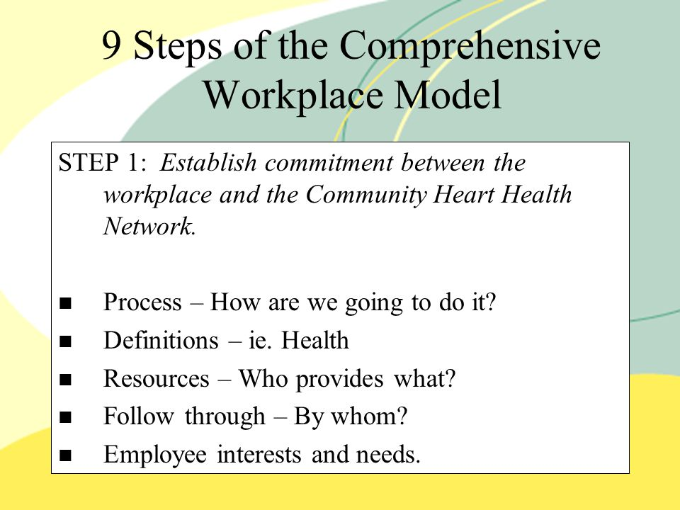 9 Steps of the Comprehensive Workplace Model STEP 1: Establish commitment between the workplace and the Community Heart Health Network.