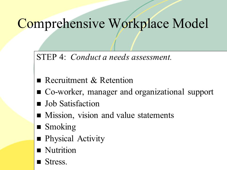 Comprehensive Workplace Model STEP 4: Conduct a needs assessment.