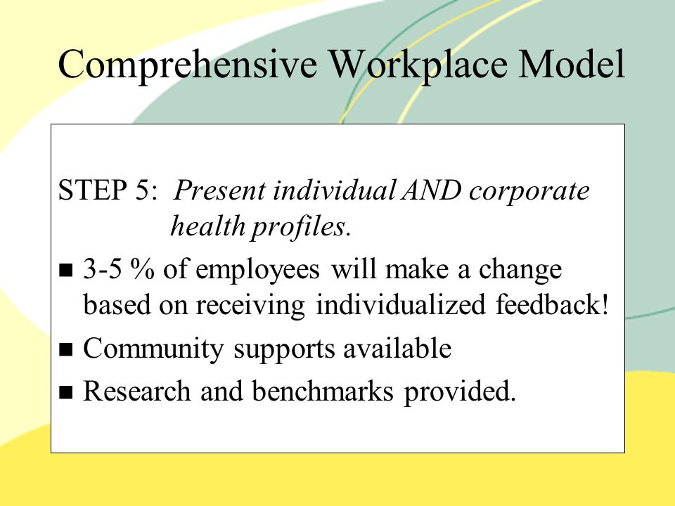 Comprehensive Workplace Model STEP 5: Present individual AND corporate health profiles.