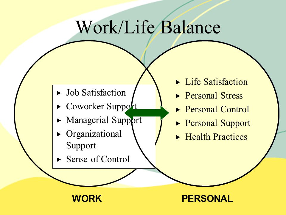 Work/Life Balance  Life Satisfaction  Personal Stress  Personal Control  Personal Support  Health Practices WORKPERSONAL   Job Satisfaction   Coworker Support   Managerial Support   Organizational Support   Sense of Control