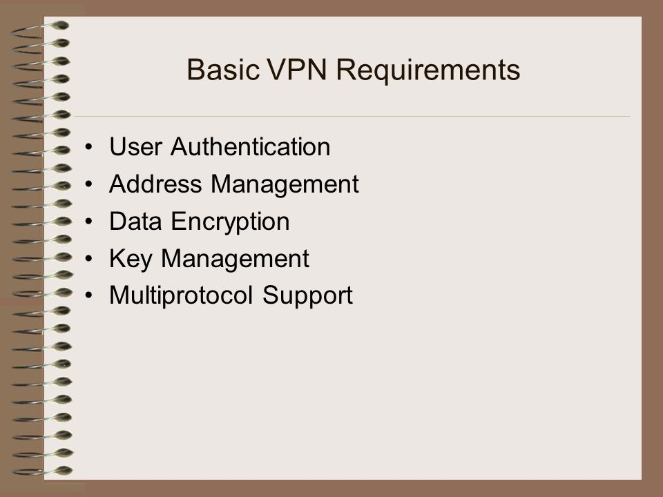 Basic VPN Requirements User Authentication Address Management Data Encryption Key Management Multiprotocol Support