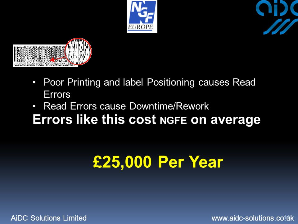 AiDC Solutions Limited   14 Poor Printing and label Positioning causes Read Errors Read Errors cause Downtime/Rework Errors like this cost NGFE on average £25,000 Per Year