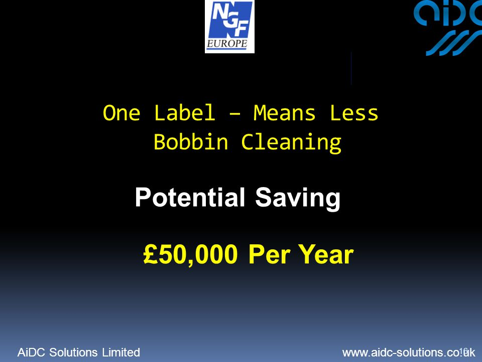 AiDC Solutions Limited   16 Potential Saving £50,000 Per Year One Label – Means Less Bobbin Cleaning