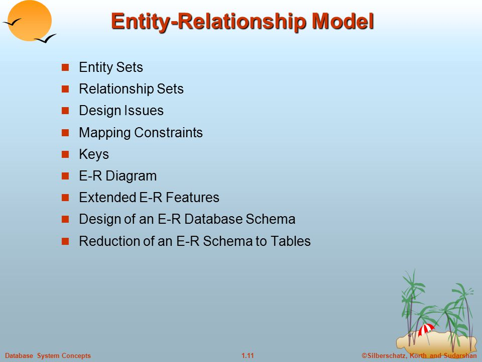 ©Silberschatz, Korth and Sudarshan1.11Database System Concepts Entity-Relationship Model Entity Sets Relationship Sets Design Issues Mapping Constraints Keys E-R Diagram Extended E-R Features Design of an E-R Database Schema Reduction of an E-R Schema to Tables