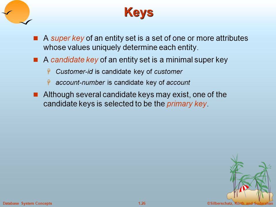 ©Silberschatz, Korth and Sudarshan1.26Database System Concepts Keys A super key of an entity set is a set of one or more attributes whose values uniquely determine each entity.