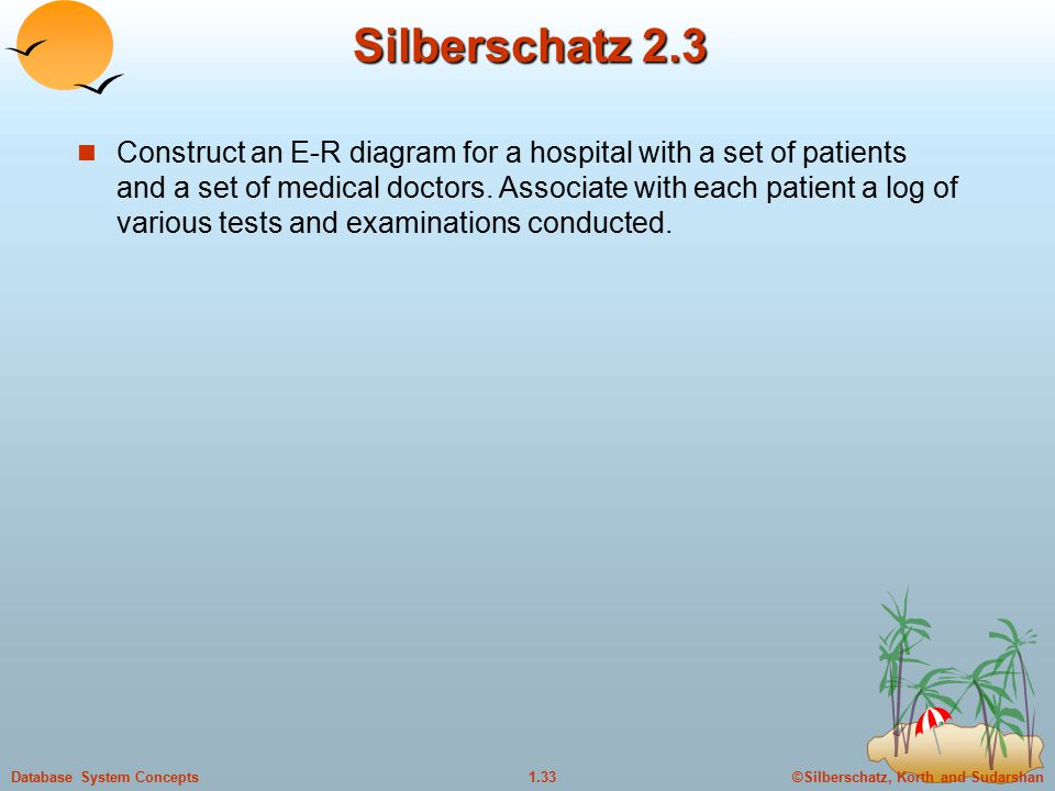 ©Silberschatz, Korth and Sudarshan1.33Database System Concepts Silberschatz 2.3 Construct an E-R diagram for a hospital with a set of patients and a set of medical doctors.