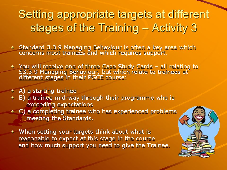 Setting appropriate targets at different stages of the Training – Activity 3 Standard Managing Behaviour is often a key area which concerns most trainees and which requires support.