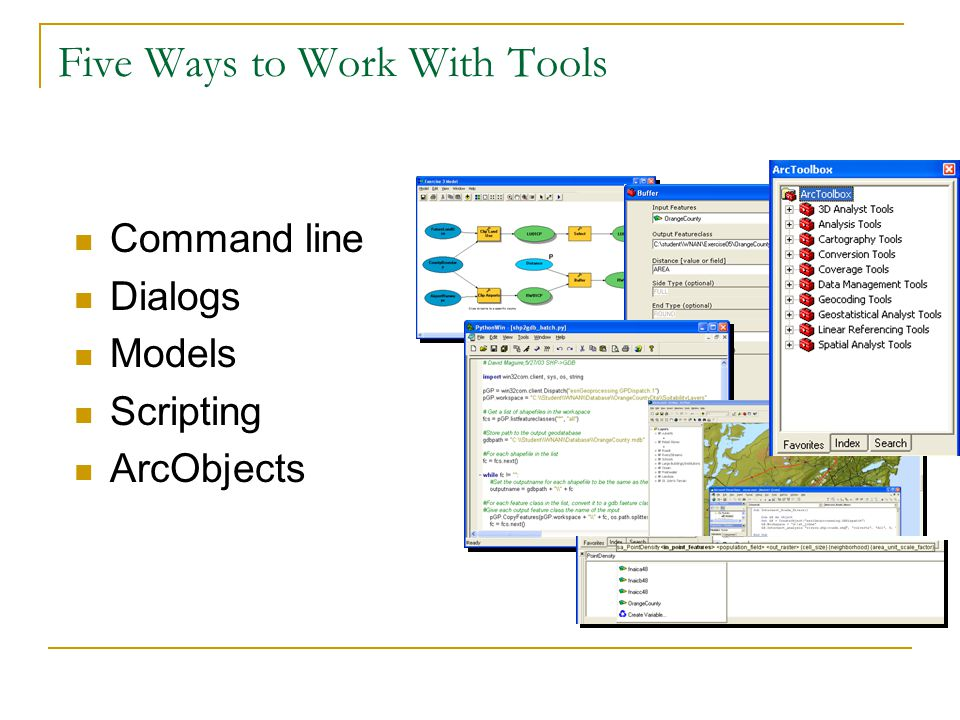 Five Ways to Work With Tools Command line Dialogs Models Scripting ArcObjects